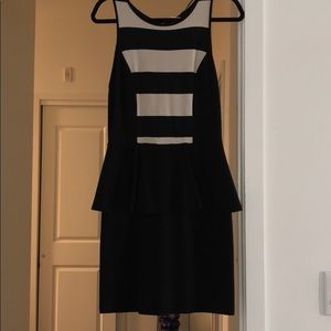 Kensie Peplum Black and Cream Dress! Size M